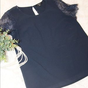 41 Hawthorn Navy Blouse with Lace Sleeves